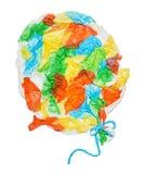 Ballon collé des morceaux de papier chiffonnés photos stock