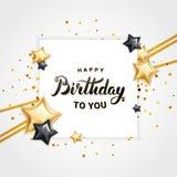 Ballon d'étoile de joyeux anniversaire illustration stock