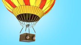 Ballon 3d de couleur d'air chaud rendre sur le fond bleu illustration libre de droits