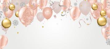 Ballon d'illustration de vecteur de place de bonne année pour des boules de Noël design de carte de salutation moderne illustration de vecteur