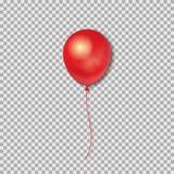 Ballon 3D vermelho realístico isolado no fundo transparente Ilustração do vetor ilustração do vetor