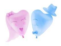 Ballon de coeur d'amour de jeunes mariés avec le chemin de coupure Images libres de droits
