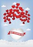 Ballon de coeur flottant sur le style de coupe de papier de ciel image stock