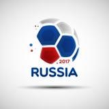Ballon de football abstrait avec les couleurs russes de drapeau national illustration de vecteur