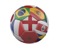 Ballon de football avec des drapeaux d'isolement sur le fond blanc, Angleterre au centre, rendu 3d illustration stock