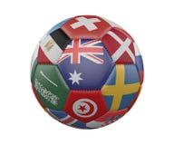 Ballon de football avec des drapeaux d'isolement sur le fond blanc, Australie au centre, rendu 3d illustration stock