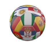 Ballon de football avec des drapeaux d'isolement sur le fond blanc, Nigéria au centre, rendu 3d illustration stock