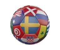 Ballon de football avec des drapeaux d'isolement sur le fond blanc, Suède au centre, rendu 3d illustration de vecteur