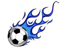 Ballon de football avec l'illustration de vecteur de flammes bleues illustration de vecteur