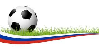 ballon de football avec la bannière russe Photographie stock