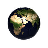 Ballon de football avec la carte de la terre Photos libres de droits