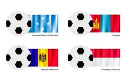 Ballon de football avec la Micronésie, Mongolie, Moldau et Photographie stock