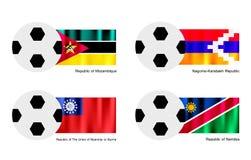 Ballon de football avec la Mozambique, Nagorno Karabakh, Mya Image libre de droits