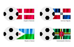 Ballon de football avec le Danemark, Dominicain, le Djibouti et la Dominica Flag Photo stock