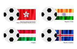 Ballon de football avec le drapeau de Hong Kong, d'Inde, de la Hongrie et de l'Islande Photos stock
