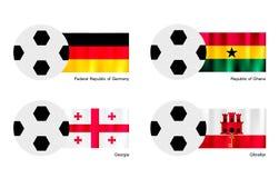 Ballon de football avec le drapeau de l'Allemagne, du Ghana, de la Géorgie et du Gibraltar Photos stock
