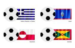 Ballon de football avec le drapeau de la Grèce, de la Guam, du Groenland et du Grenada Photographie stock libre de droits