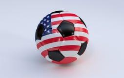 Ballon de football avec le drapeau des Etats-Unis Image stock