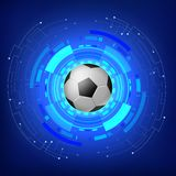 Ballon de football avec le fond moderne de technologie illustration stock
