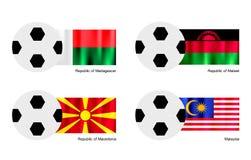 Ballon de football avec le Madagascar, le Malawi, le Macédoine et le drapeau de la Malaisie Photo libre de droits