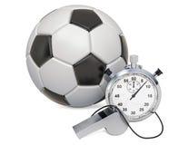 Ballon de football avec le sifflement et le chronomètre, rendu 3D illustration de vecteur