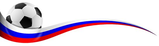 Ballon de football avec le vecteur d'isolement par couleurs de drapeau de la Russie illustration stock