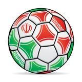 Ballon de football avec les couleurs du drapeau de l'Iran Photo libre de droits