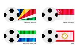 Ballon de football avec les Seychelles, Singapour, sierra Lion Photographie stock libre de droits