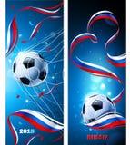 Ballon de football de bannières avec le drapeau de la Russie Vecteur Images libres de droits