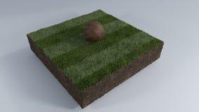 ballon de football 3D de correction d'herbe Images libres de droits
