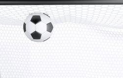 ballon de football 3d dans le filet Image stock