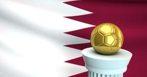 Ballon de football d'or devant le drapeau du Qatar, l'espace pour le texte illustration de vecteur