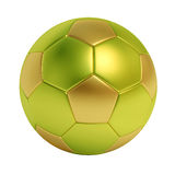 Ballon de football d'or et vert d'isolement sur le fond blanc Image stock