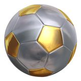 Ballon de football d'or haut étroit d'isolement Images stock