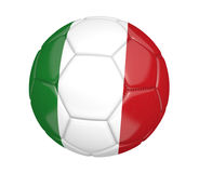 Ballon de football d'isolement, ou football, avec le drapeau de pays de l'Italie, rendu 3D Photo libre de droits