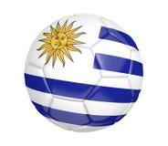 Ballon de football d'isolement, ou football, avec le drapeau de pays de l'Uruguay, rendu 3D illustration stock