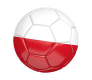 Ballon de football d'isolement, ou football, avec le drapeau de pays de la Pologne Photos stock