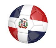 Ballon de football d'isolement, ou football, avec le drapeau de pays de la République Dominicaine, rendu 3D illustration libre de droits