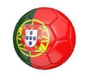 Ballon de football d'isolement, ou football, avec le drapeau de pays du Portugal Photo stock