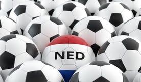 Ballon de football dans des couleurs nationales néerlandaises Photographie stock