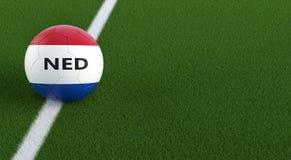 Ballon de football dans des couleurs nationales néerlandaises sur un terrain de football Copiez l'espace du côté droit - le rendu Photo libre de droits