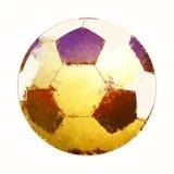Ballon de football dans l'aquarelle sur le fond blanc Photos stock