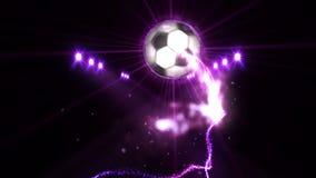 Ballon de football dans le domaine sous l'éclairage de couleur Concept d'équipe de sports stade ground Champ Projecteurs la nuit illustration de vecteur