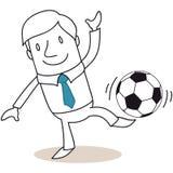 Ballon de football de équilibrage d'homme d'affaires sur son pied. illustration stock