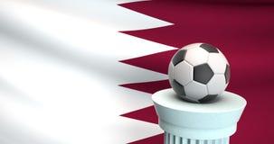 Ballon de football devant le drapeau du Qatar, l'espace pour le texte photos stock
