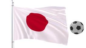 Ballon de football et le drapeau de flottement du Japon sur un fond blanc, rendu 3d Image stock