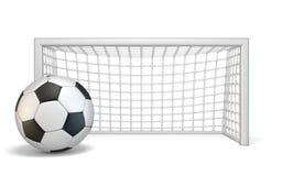Ballon de football et porte 3D du football Photos libres de droits