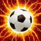 Ballon de football, foudres Image stock