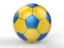 Ballon de football jaune et bleu Images stock