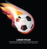 Ballon de football ou football sur la flamme du feu avec des étoiles Photo libre de droits